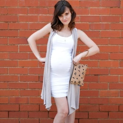 The Ruche Top / Dress White Yummy Maternity Shop
